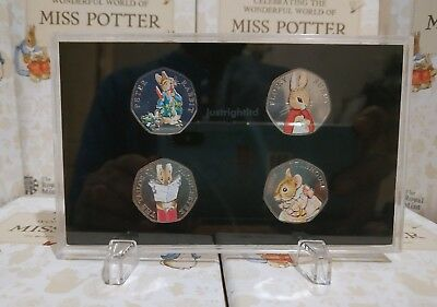2018 Beatrix Potter 50p Set all 4 coins in Display Case UNC with Colour stickers