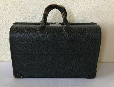 Antique Pebbled Leather Doctor Bag Medical Travel Case Steampunk Multicompartmen