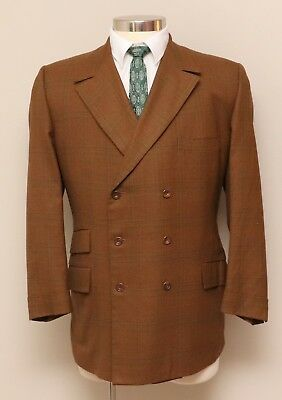 Vintage 1960s Mens 42R Louis Roth Brown Plaid Wool Double Breasted Blazer