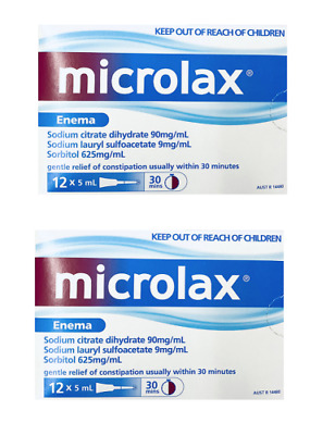 New 2 x Microlax Enema 5mL x 12 Constipation Relief