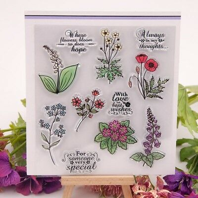 Flower Plant Transparent Silicone Clear Rubber Stamp Sheet Scrapbooking DIY GL