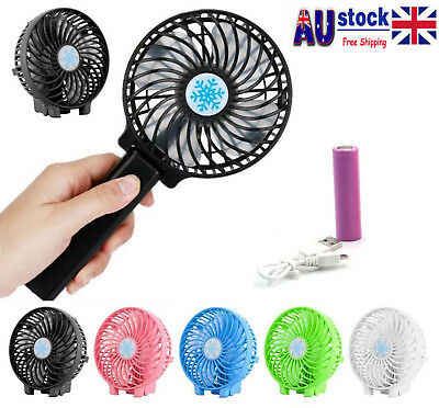 Mini Portable Hand-held Desk Fan Office Handy USB Rechargeable Air Conditioner