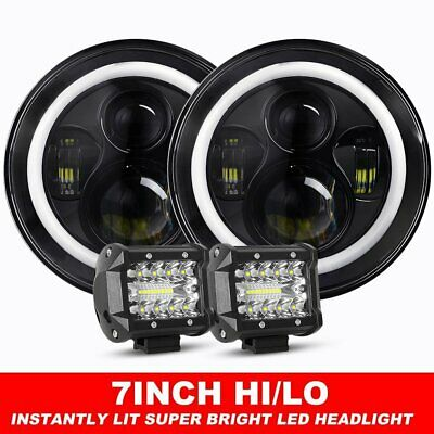 "Pair 7inch LED Headlights Projector Lens DRL Halo For GQ PATROL + 4"" Combo Pods"