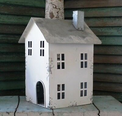 LARGE White-Washed Tin ~SOUTH HOUSE~ Primitive, Aged & Distressed ~ NWT!