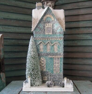 CODY FOSTER Large Putz ~TEAL TOWNHOUSE~ Brand New!