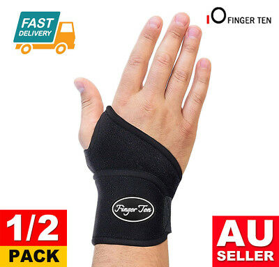 WRIST SUPPORT 2Pack Brace Pain Relief Strap Wrap Carpal Tunnel Sprain Gym RSI AU