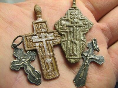 Mix ! Late Medieval Orthodox  Bronze + Vintage Sterling Silver Crosses! #833
