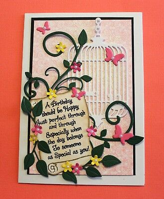 White Happy Birthday Handmade Card DIY Card Making Kit Bird Cage Scroll Flourish