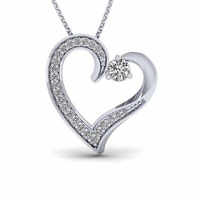 """1/3 Ct Diamond Heart Pendant Necklace 14k White Gold 16"""" Chain Mothers Day"""