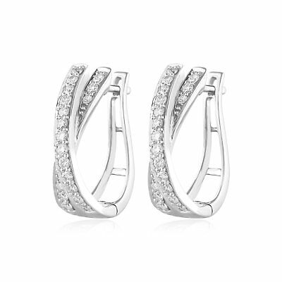 2b6abec7f 5/8 Ct Round Natural Diamond Criss Cross Hoop Earrings Huggie 14k White Gold