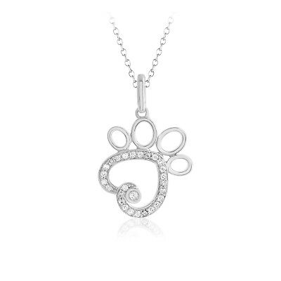 """1/10 Ct Diamond Heart Dog Paw Pendant 18"""" Chain Necklace .925 Sterling Silver"""