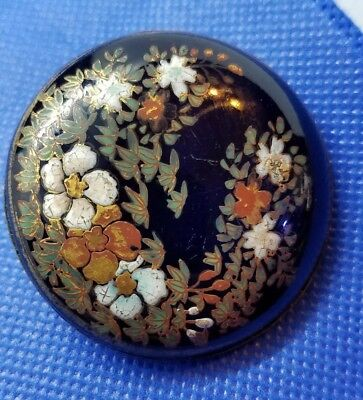 Antique Large Porcelain Enamel Button with Flowers and Leaves Brass Back