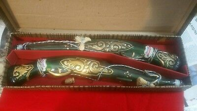 2 Vintage Barsottini Vino Rosso Green Glass Shaped Rifle Gun Wine Bottle Italy