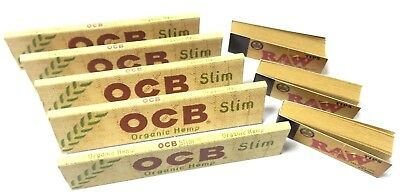 5 x OCB Organic Hemp Slim King Size Rolling Papers + 3 RAW TIPS BOOKLET FREE P&P