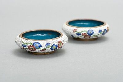"""Matching Pair of 2 Antique Chinese Brass & Enamel White Cloisonne Dish Bowls 4"""""""
