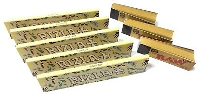 5 x RIZLA NATURA NATURAL HEMP PAPER KING SIZE ROLLING PAPER + 3 RAW TIPS P&P