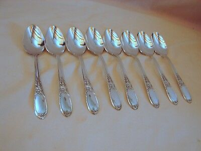 8 Old Wm. Rogers Silver Burgandy Ptn 6in Teaspoons, Grape, Excellent Cond, 1934