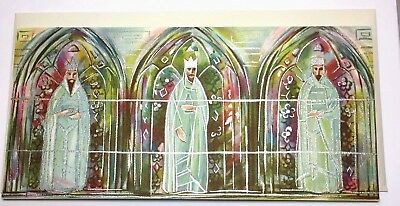 Angels Aucton Vtg Card Hallmark Slim Jims Retro Mid Century 3 King Stained Glass