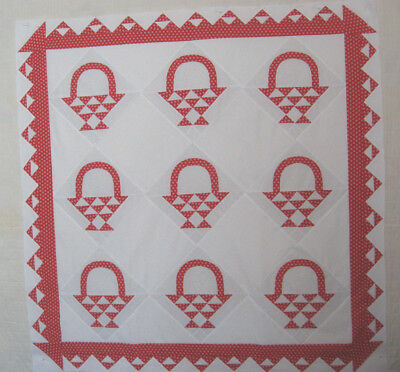 QUILT TOP ' RED BASKETS'  Red/White  by LJay