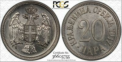 1917 MS64 Serbia 20 Para PCGS UNC Milan I KM# 20 Medal Alignment