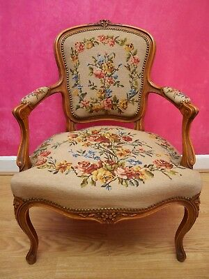 LOUIS XV STYLE FRENCH CARVED OAK AND NEEDLEPOINT ANTIQUE ARMCHAIR. circa 1890.