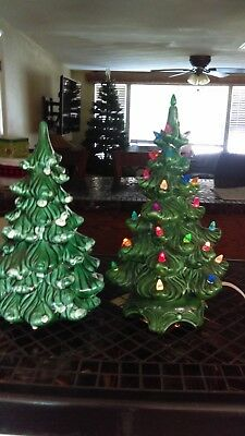 Vintage Ceramic Christmas Tree Light Up 12 Inch Green No Star