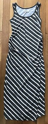 Old Navy Maternity Long Gray/White Striped Tank Top Dress with Side Ruching - S