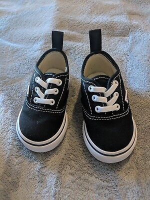 a6cd1fbae4 NEW VANS AUTHENTIC Black-White Canvas Laces Toddler Boy Girl Shoes ...