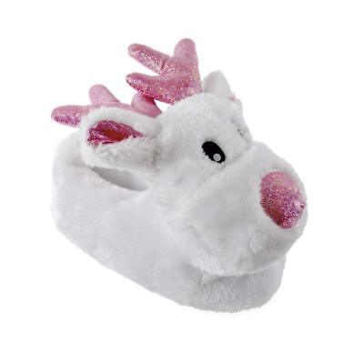 Girls Gorgeous White Reindeer Pink Sparkle Faux Fur Festive 3D Novelty Slippers
