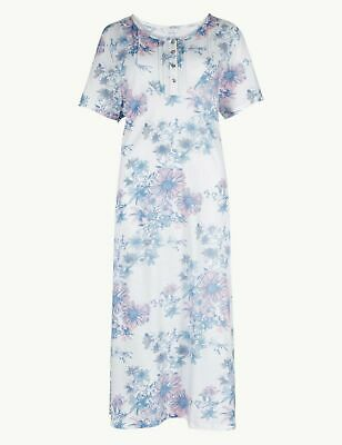 Ex Marks And Spencer M&S White Floral Short Sleeve Nightdress 8-26 NEW