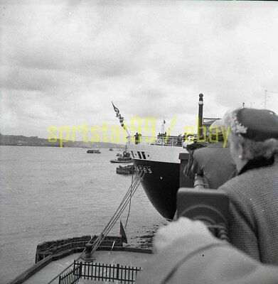 SS United States Stern View @ Terminal / Dock - Vintage Negative c1950s 11038