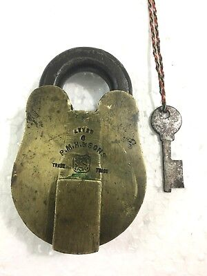 An Antique Old Solid Brass Trademark Padlock P.m.h.& Sons