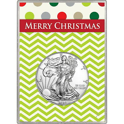 2019 Silver American Eagle BU in Merry Christmas Gift Holder