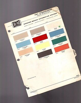 1961 STUDEBAKER Color Chip Paint Sample Brochure/Chart: R-M