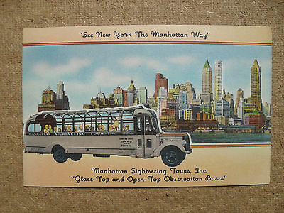 1940's Postcard Manhattan Sightseeing Tours Glass Top Bus New York Unposted Nice
