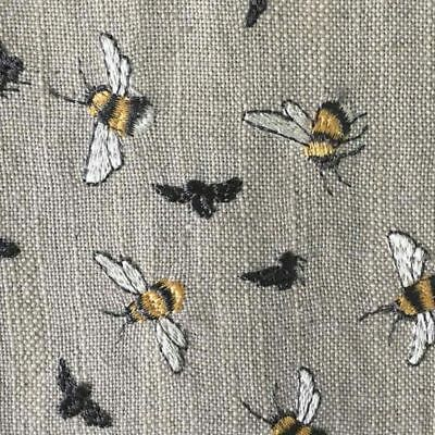 NEW Voyage Bumble Bee Birch Embroidered Fabric. Bumblebees - Curtains / Blinds.