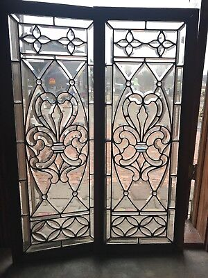 Sg 2691 matched pair amazing all beveled glass vertical windows 17.5 x 44.5
