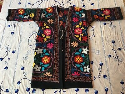 Vintage Antique Uzbek Beautiful Multicolor Wool Embroidery Suzani Robe Dress