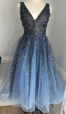 9caad19e53cc 2018 Marchesa Notte Embellished Blue Ombre Tulle Party Gown Dress IT 38 /  US 2