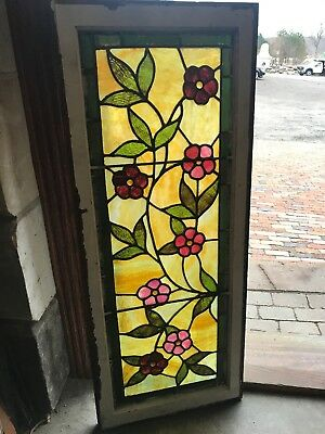 SG 2695 Antique Stainglass Floral Transom Window 18 x 44