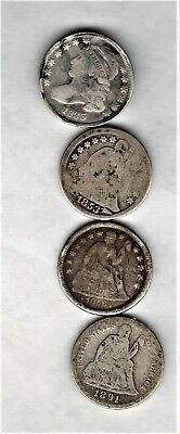 4 type dimes 1835 BUST STYLE-1853 W/AR-1856 STARS-1891 SEATED LIBERTY