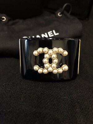 CHANEL Iconic Black Wide Cuff Bangle Bracelet Pearl CC Matte Gold HW Italy 2015
