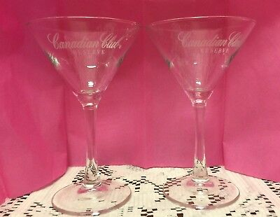 Set of 2 Canadian Club Reserve Long Stemmed Martini Glass