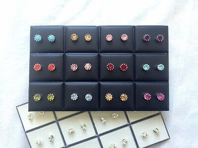 JOBLOT-12 pairs of 0.6cm crownset colour diamante stud.Silver plated.UK handmade