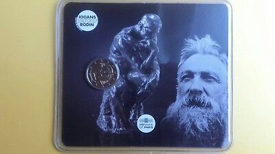 2 euro commemorative france 2017 - Rodin - Coincard