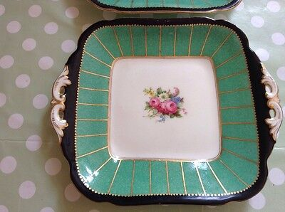"""TWO RARE 10"""" Vintage Art Deco CRESCENT & SONS FLORAL CAKE SERVING PLATE china"""