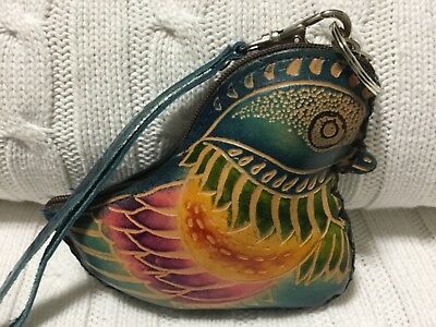 "HAND MADE EMBOSSED GENUINE LEATHER GATOR COIN PURSE//WRISTLET//POUCH 4.0"" X 3.5"""