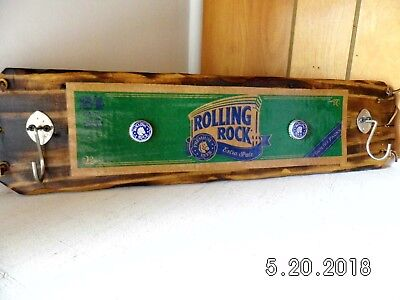 Handmade Rustic Wooden Rolling Rock Beer Sign/Key Holder Dbl. Cap Original 2018
