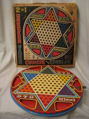 vintage Ohio Art Chinese Checkers  metal 2 in 1 game board No. 538