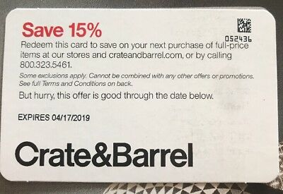 FAST DELIVERY Crate and Barrel coupon 15% Off Exp April 17, 2019